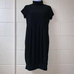Turtle Neck Short Sleeve Balloon Black Dress